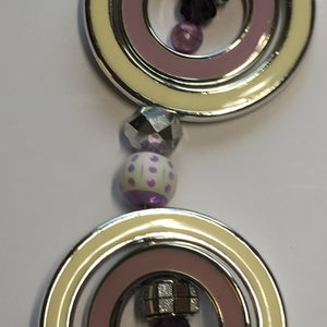 Jesse James Beads 7-Inch Purple and Cream Themed Resin and Plastic Beads and Rings Faceted Faux Crystal, Various Sizes - 16 Beads