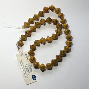 Blue Moon Bead Corner Speckled Yellow Amber Brown Gold Glass Bicones, 10 mm - 37 Beads
