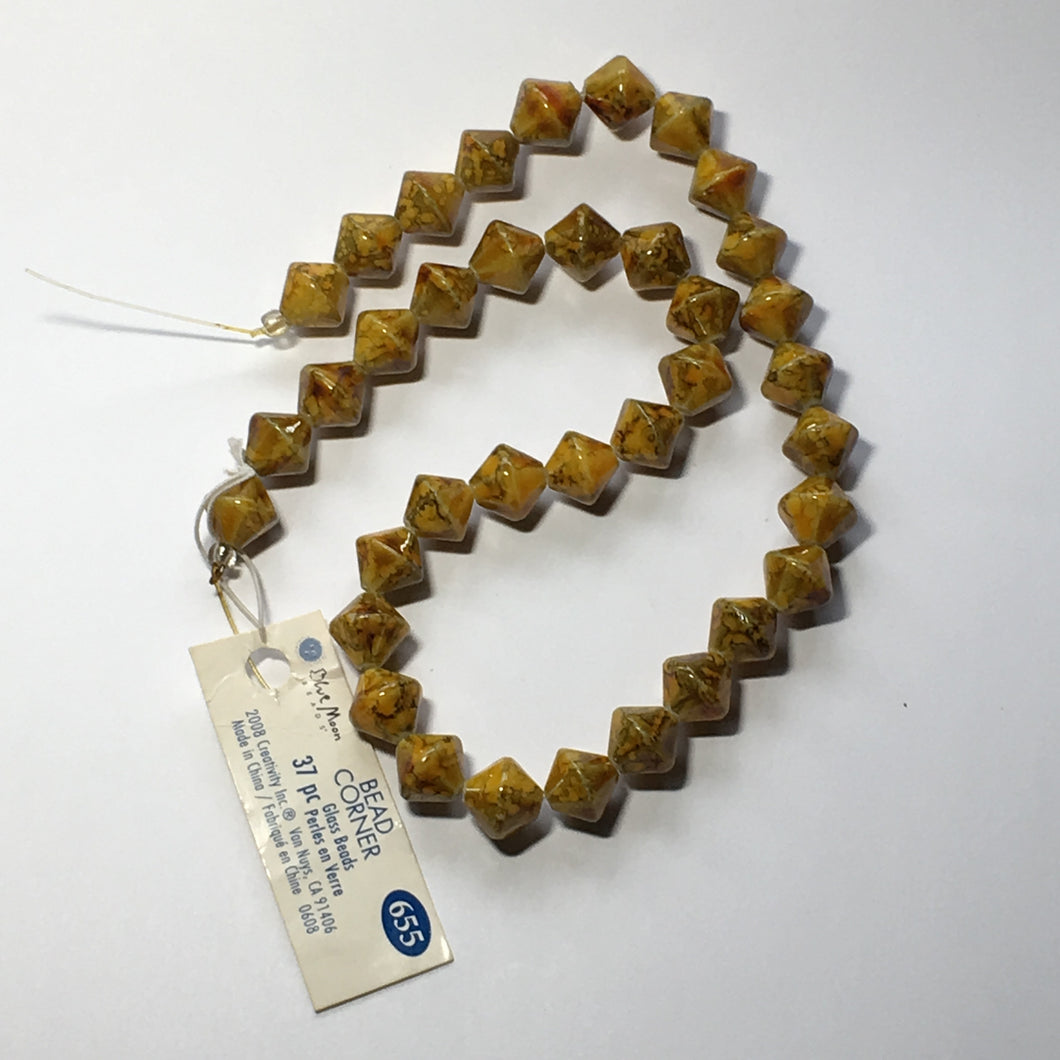 Blue Moon Bead Corner Speckled Yellow Amber Brown Gold Glass Bicones, 10 mm, 37 Beads