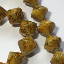 Load image into Gallery viewer, Blue Moon Bead Corner Speckled Yellow Amber Brown Gold Glass Bicones, 10 mm - 37 Beads