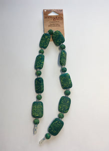 Blue Moon Natural Elegance Feathered Jade Green Glass Beads Rectangle and Rondelle, 18 x 25 and 8 mm, 14-Inch Strand