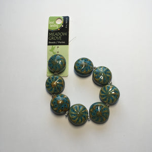 Bead Landing Meadow Grove Green/Blue Speckled Ceramic Beads, 22 mm - 7 Beads