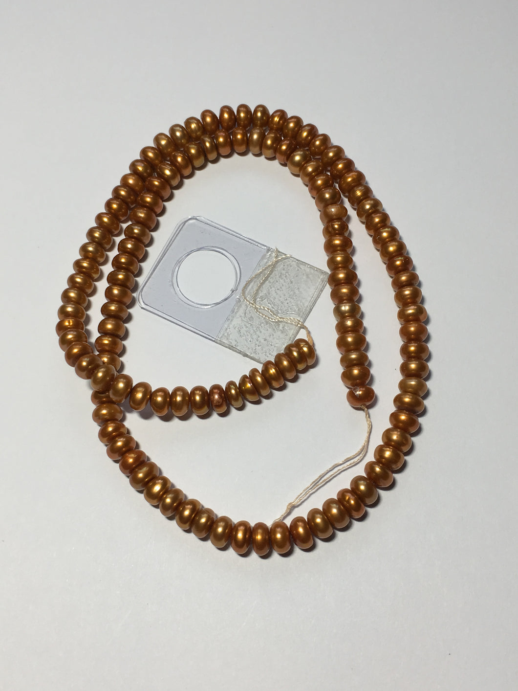 Gold Button Freshwater Pearls 6 mm, 16-Inch Strand 119 Pearls