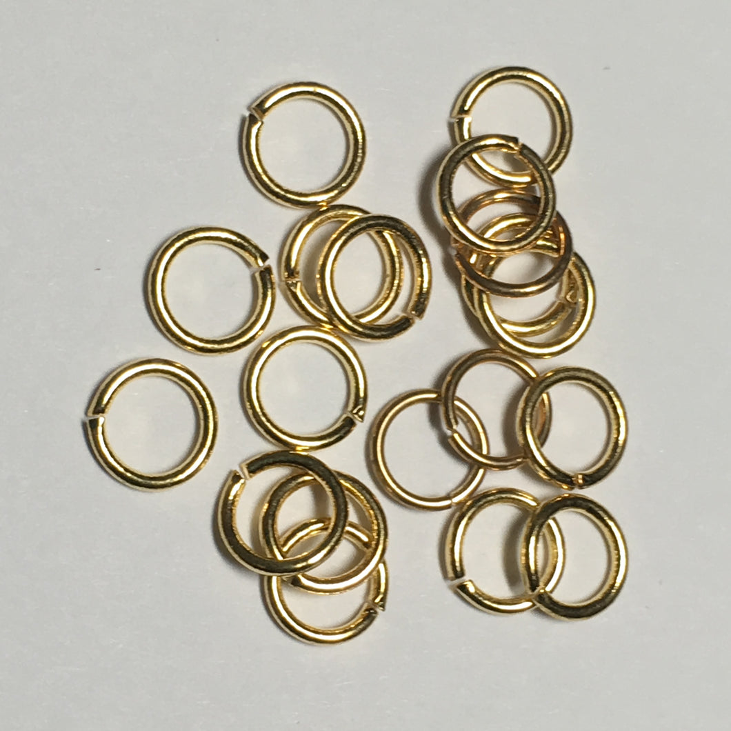7 mm 19-Gauge Bright Gold Iron Unsoldered Plated .92 mm Split Jump Rings - 20 Rings