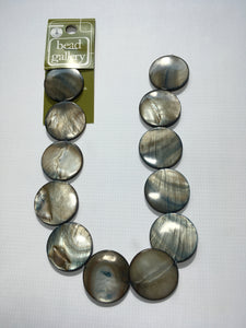 Bead Gallery Jet Gray Shell Lentil Beads, 25 mm, 12 Beads