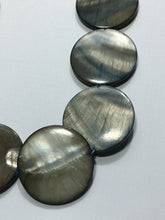 Load image into Gallery viewer, Bead Gallery Jet Gray Shell Lentil Beads, 25 mm, 12 Beads