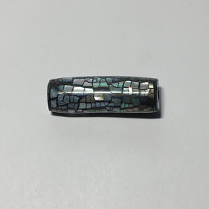 Mother of Pearl Inlaid Slider Focal Bead 35 x 10 mm, Silver/Black, or Beige