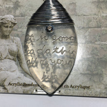 Load image into Gallery viewer, Blue Moon Manor House Acrylic Wire Wrapped Flat Drop Pendant With Words, 55 x 30 x 6.5 mm
