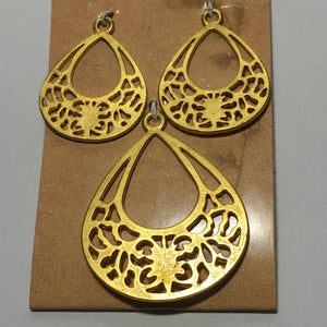 Organics Pendant and Earring Findings Set - Gold Color 45 and 30 mm