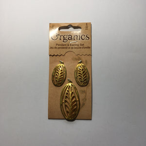Organics Leaf Pendant and Earring Findings Set - Gold Color 45 and 30 mm