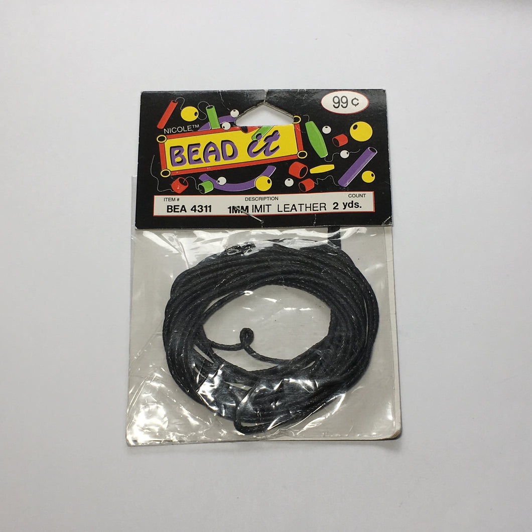 Bead It 1 mm Imitation Black Leather Cord 2 yards