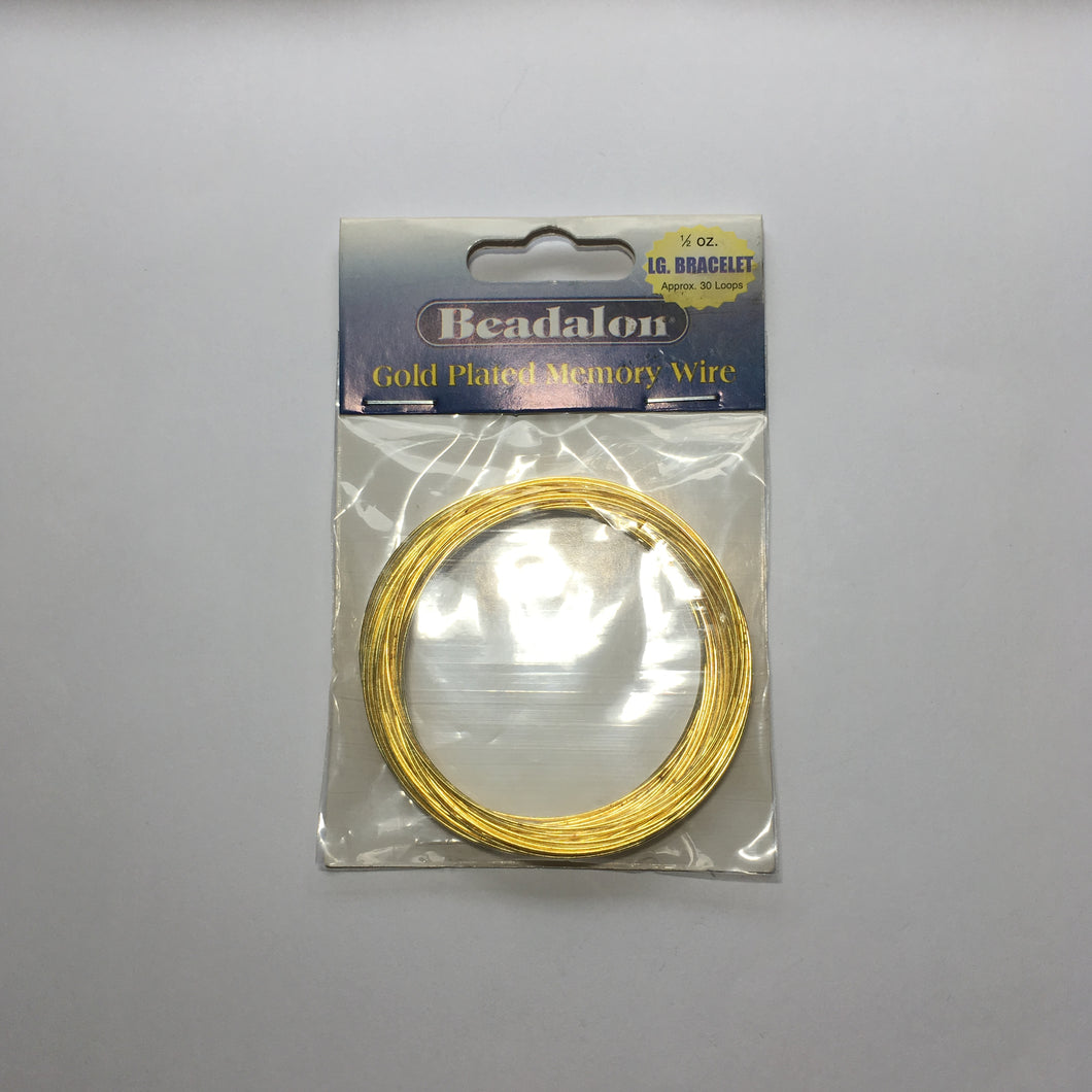 Beadalon Gold Plated Memory Wire 1/2 oz. Large Bracelet Approx. 30 Loops