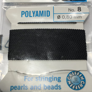 Griffin Bead Cord Polyamid No. 8 (.80 mm) Black, Needle Attached 2 Meters