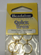 Load image into Gallery viewer, Beadalon Designer Series Quick Links Round Dash Gold Plated -  23.5 Inches