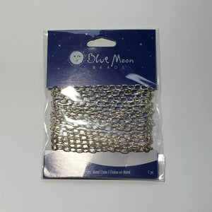 Blue Moon Silver Medium Wide Cable Chain, 75 Inches