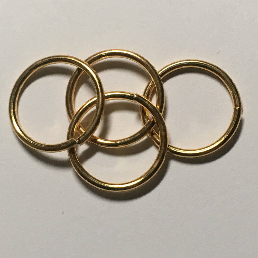 12 mm 19-Gauge Gold Unsoldered .92 mm Split Jump Rings, 4 Rings