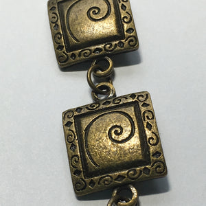 Beyond Beautiful Square Swirl Spacer Links, 15 mm  - Silver, Antique Antique Copper or Antique Gold