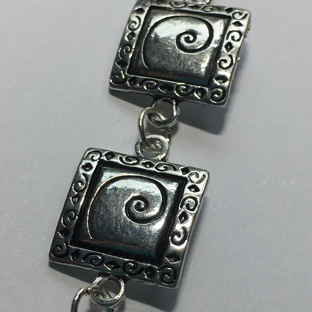 Beyond Beautiful Silver, Antique Antique Copper or Antique Gold Square Swirl Spacer Link , 15 mm  - 7 Links