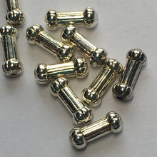 Load image into Gallery viewer, Bright Silver Bone-Shaped Spacer Beads, 7 mm length, 2 mm ends - 10 Beads