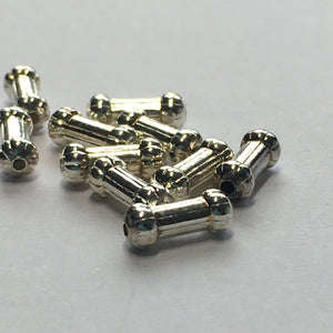 Bright Silver Bone-Shaped Spacer Beads, 7 mm length, 2 mm ends - 10 Beads