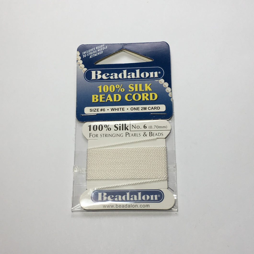 Beadalon 100% White Silk Bead Cord Size 6 (0.70 mm) - One 2M Card with Needle