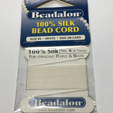 Load image into Gallery viewer, Beadalon 100% White Silk Bead Cord Size 6 (0.70 mm) - One 2M Card with Needle