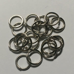 7 mm 21-Gauge Silver  0.71 mm Unsoldered Split Jump Rings - 20 Rings