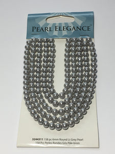 Pearl Elegance Light Grey Round Glass Pearls, 6 mm  - 158 Beads