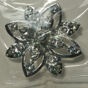Clear Rhinestone and Silver Flower Slider Focal Bead 35 x 12 mm by The Bead Giant