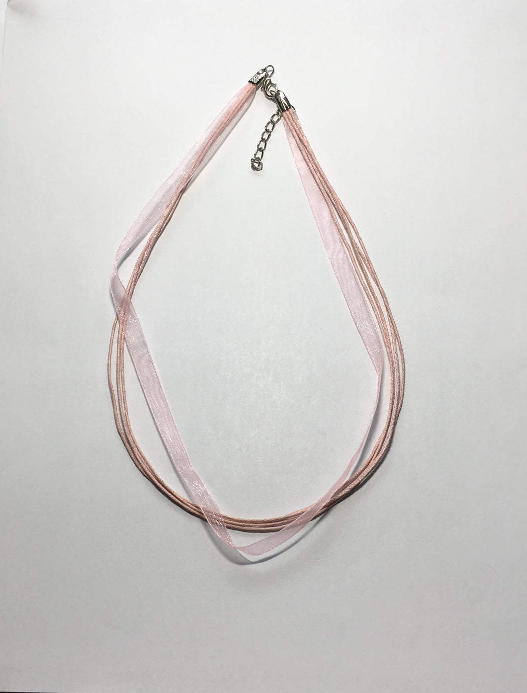 Pink Organza Ribbon and Cord Necklace, 16-Inch