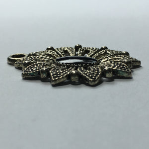 Antique Silver Flower Pendant with Black Enamel Center, 32 x 27 mm