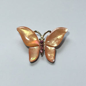 Creamy Orange Enamel and Pink Crystal Butterfly Slider Pendant 25 x 35 mm