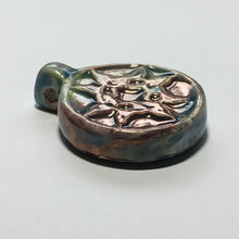 Load image into Gallery viewer, Iridescent Ceramic Blue Pink Pendant, 38 x 30 x 8 mm
