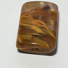 Load image into Gallery viewer, Orange/Smoky Brown Swirl Glass Pillow Pendant 15 x 20 mm