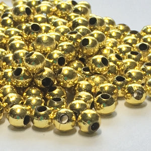 Gold Acrylic Round Beads, 4 mm - Approximately 200 Beads