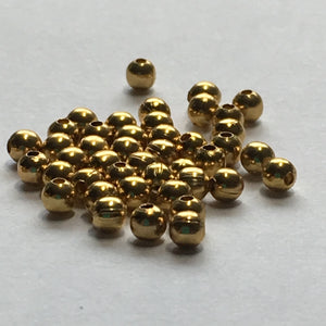 Gold Plated Round Spacer Beads, 2.4 mm - 50 Beads