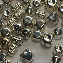 Load image into Gallery viewer, Bright Silver Mix of Spacer Beads 5 mm to 8 mm Various Shapes - 58 Beads