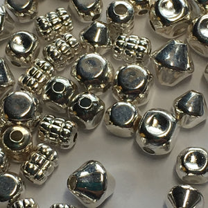 Bright Silver Mix of Spacer Beads 5 mm to 8 mm Various Shapes - 58 Beads
