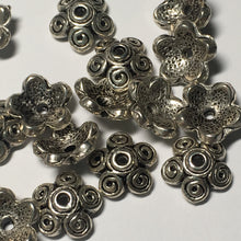 Load image into Gallery viewer, Antique Silver Curly Bead Caps, 11 mm or 13 mm