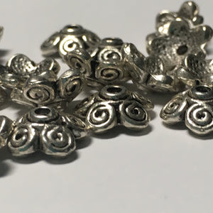 Antique Silver Curly Bead Caps, 11 mm or 13 mm