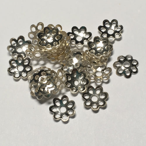 Silver Bead Caps, 8 mm  - 14 or 20 Caps