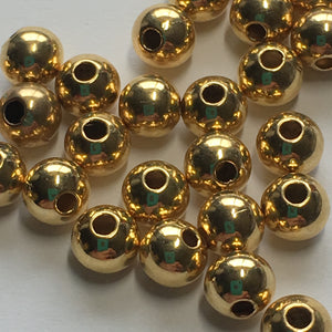 Gold Plated Smooth Round Beads,  5 x 4.5 mm - 30 Beads