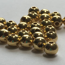 Load image into Gallery viewer, Gold Plated Smooth Round Beads,  5 x 4.5 mm - 30 Beads