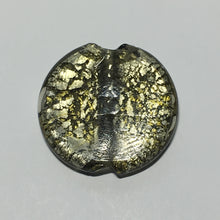 Load image into Gallery viewer, Dichroic Transparent Olive Green/Silver Coin Focal Bead, 40 mm