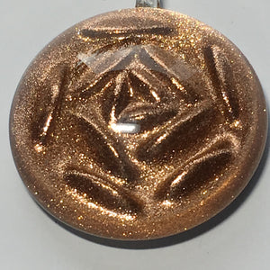 Dichroic Copper Clear Domed Rose Pendant, 40 x 33 x 12 mm