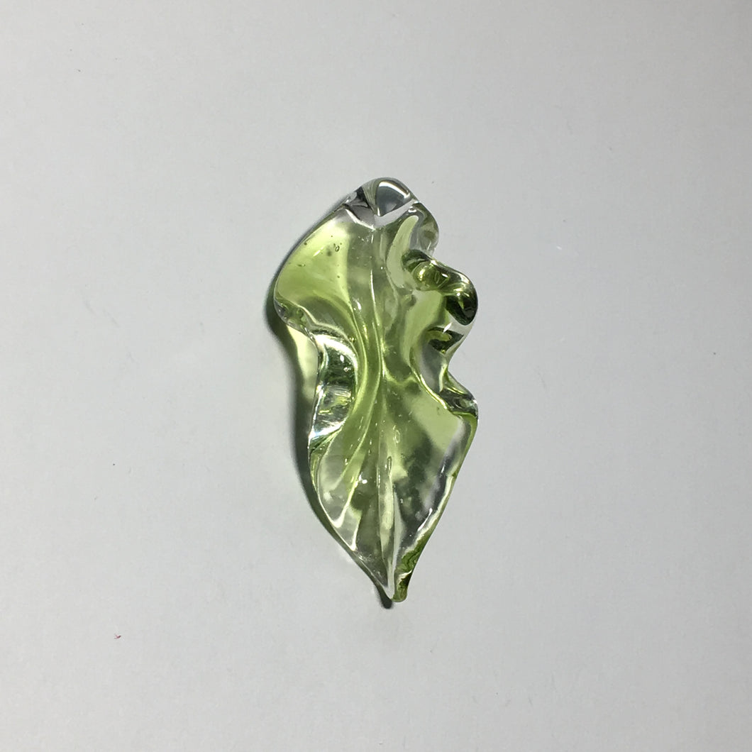 Green 3D Blown Glass Leaf Pendant, 50 x 22 mm