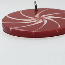 Load image into Gallery viewer, Red Resin and White Shell Swirl Round Pendant, 35 x 2.6 mm