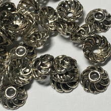 Load image into Gallery viewer, Antique Silver Open Swirl Round Bead Caps 10 mm - 40 caps