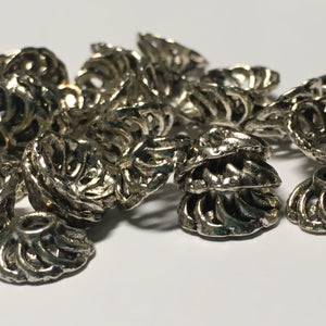 Antique Silver Open Swirl Round Bead Caps 10 mm - 40 caps