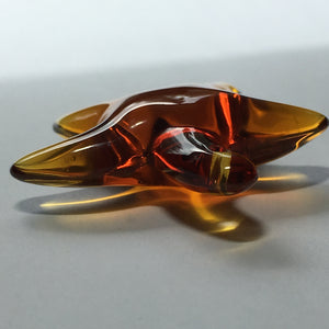 Amber Glass 3D Starfish Pendant, 40 x 10 mm